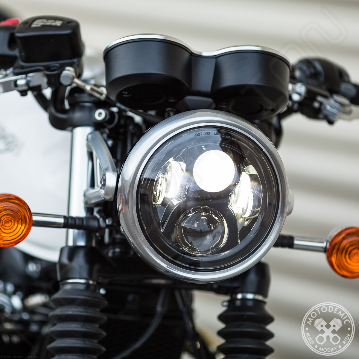 Single 7 Inch Standard LED Headlight Conversion Kit by Motodemic ... for Motorcycle Headlight Design  177nar