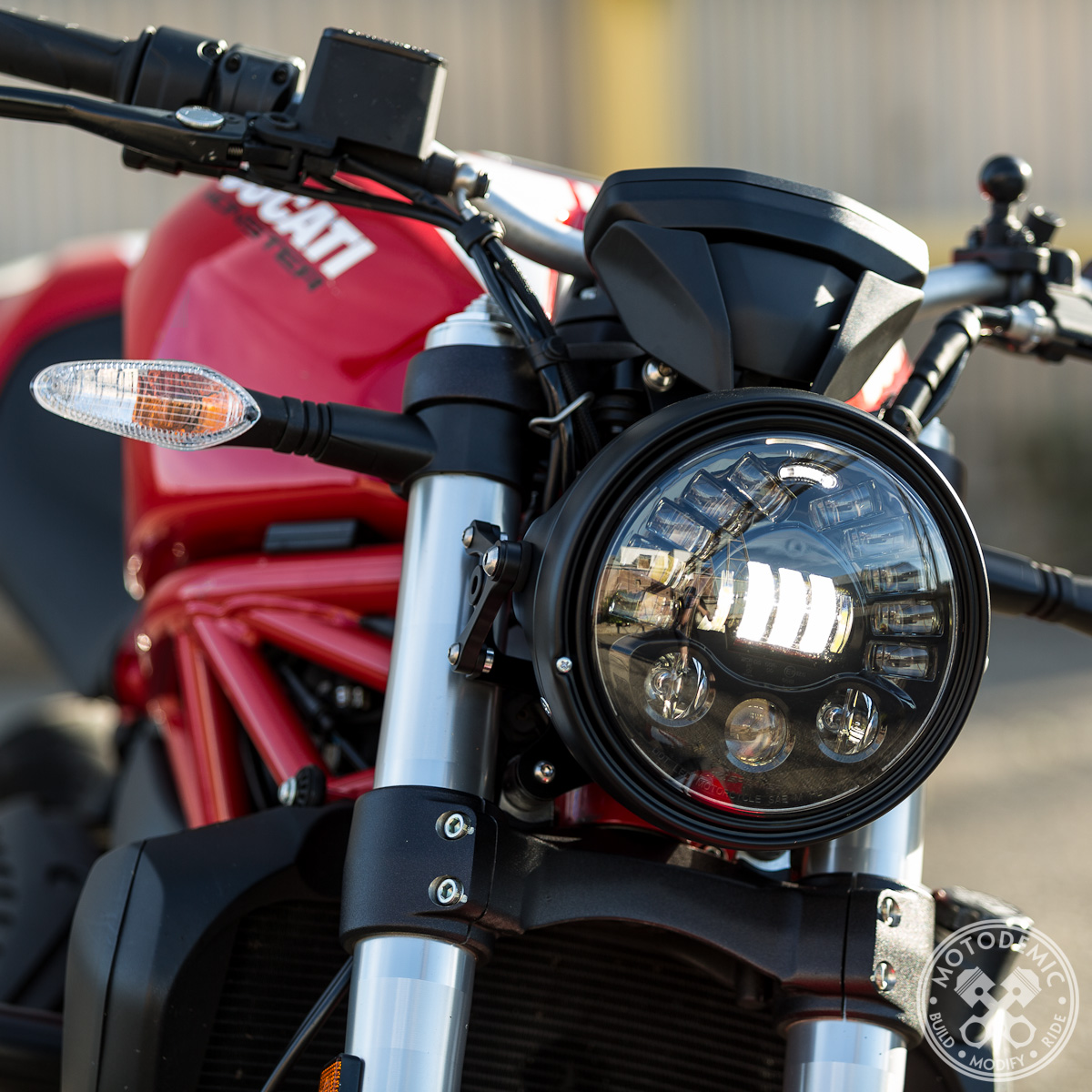Single 7 Inch Adaptive LED Headlight Conversion Kit by Motodemic ... for Motorcycle Headlight Design  300lyp