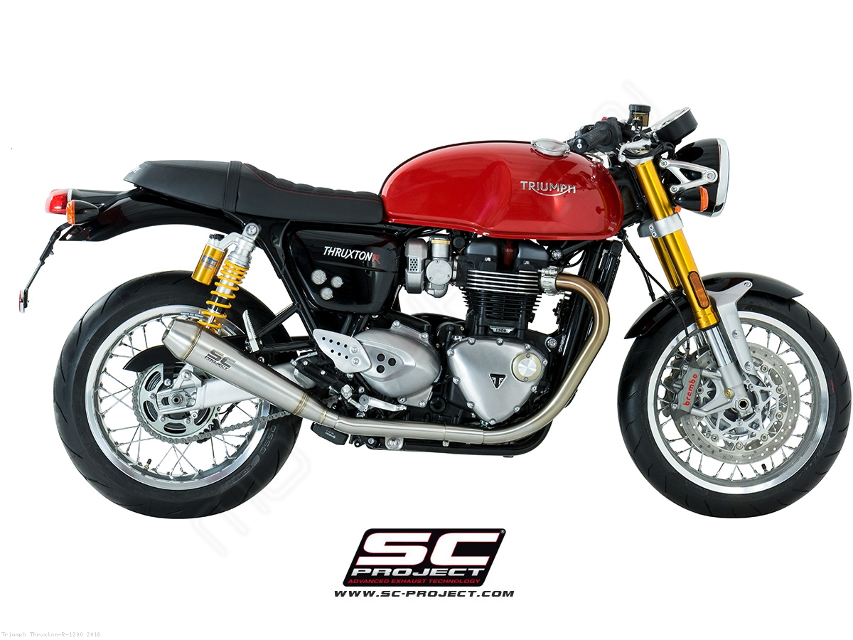 dual conic exhaust by sc project triumph thruxton r 1200 2016 t11 d37a. Black Bedroom Furniture Sets. Home Design Ideas