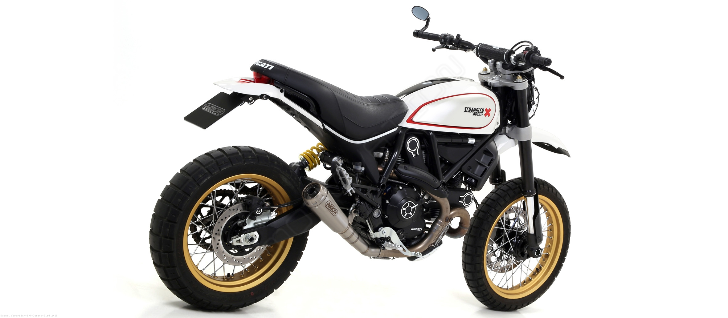 pro race exhaust by arrow ducati scrambler 800 desert. Black Bedroom Furniture Sets. Home Design Ideas