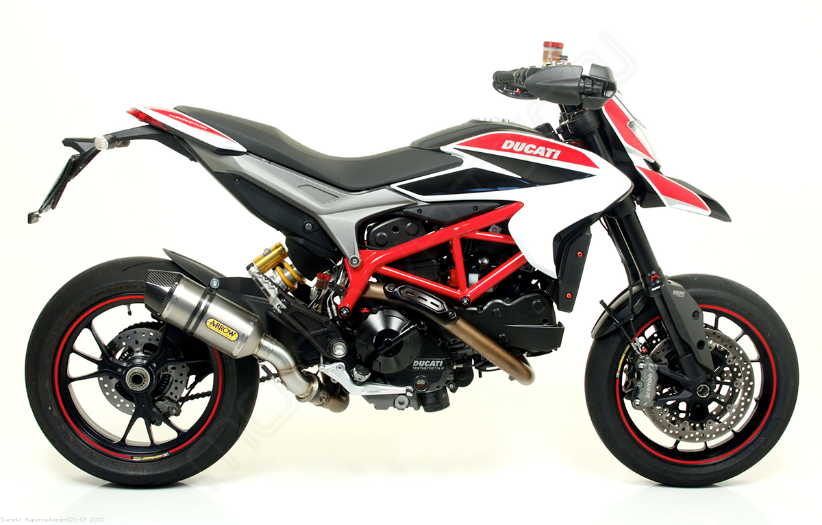 slip on exhaust by arrow ducati hypermotard 821 sp 2013 71806ak. Black Bedroom Furniture Sets. Home Design Ideas