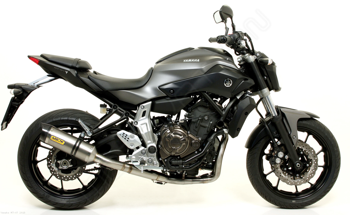 thunder full exhaust system by arrow yamaha mt 07 2018 71817ak 71605mi. Black Bedroom Furniture Sets. Home Design Ideas