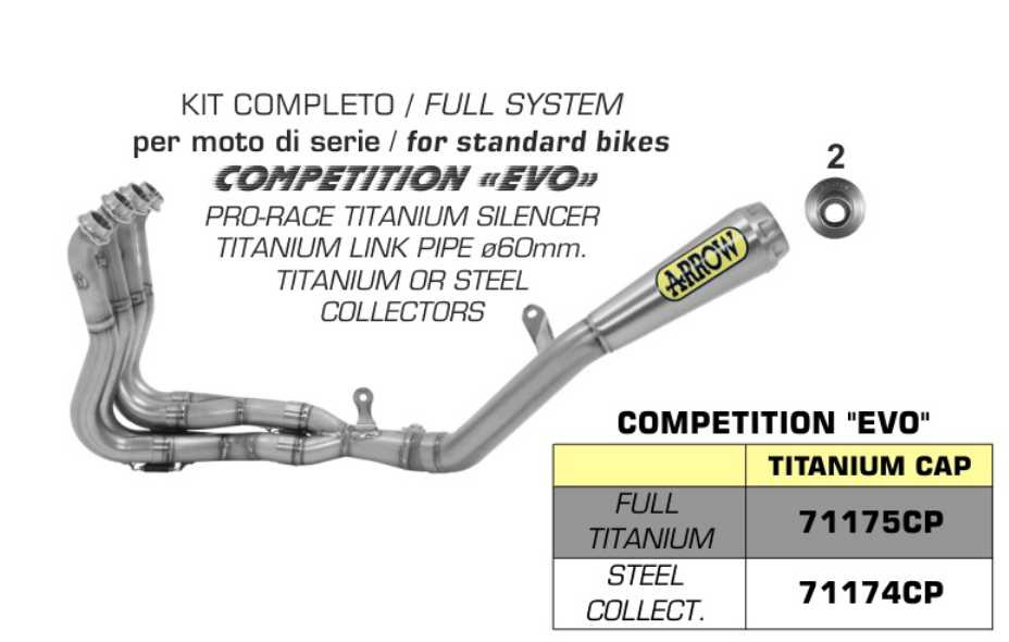Arrow 71204CP Competition EVO Full Exhaust System S1000RR