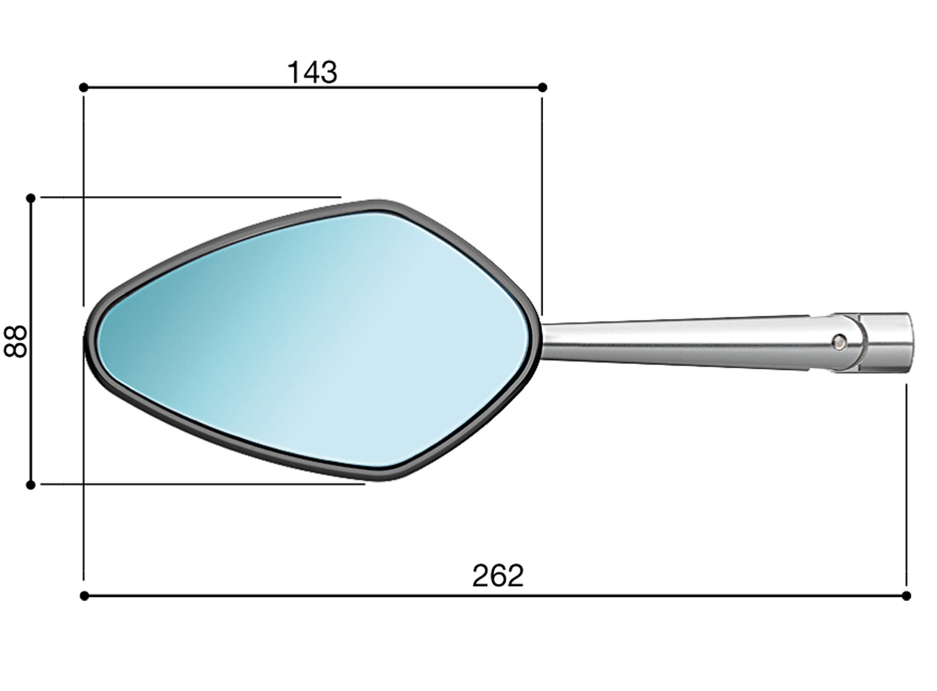 Rizoma Veloce L Universal Mirror with Integrated Turn Signal