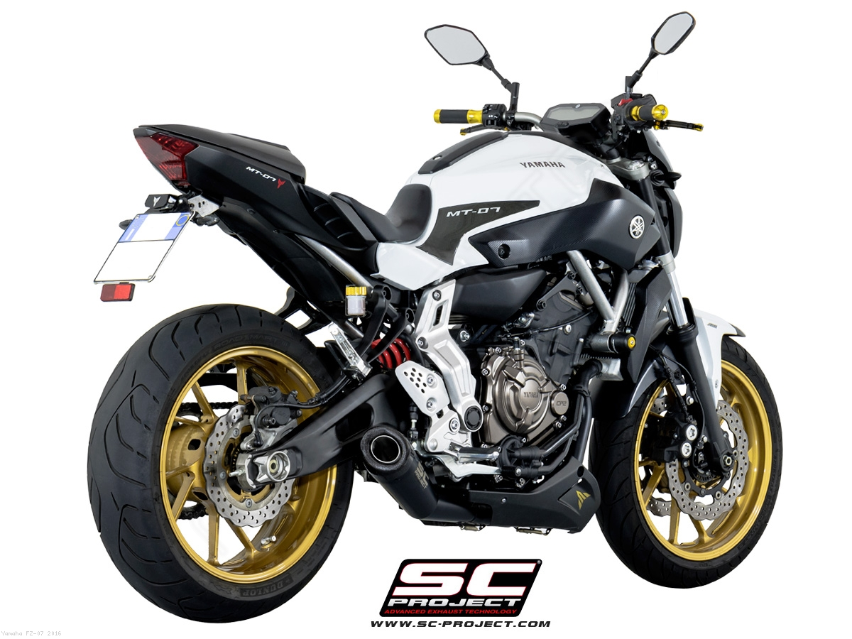 Matte black conic full system exhaust by sc project yamaha for Yamaha fz 07 horsepower