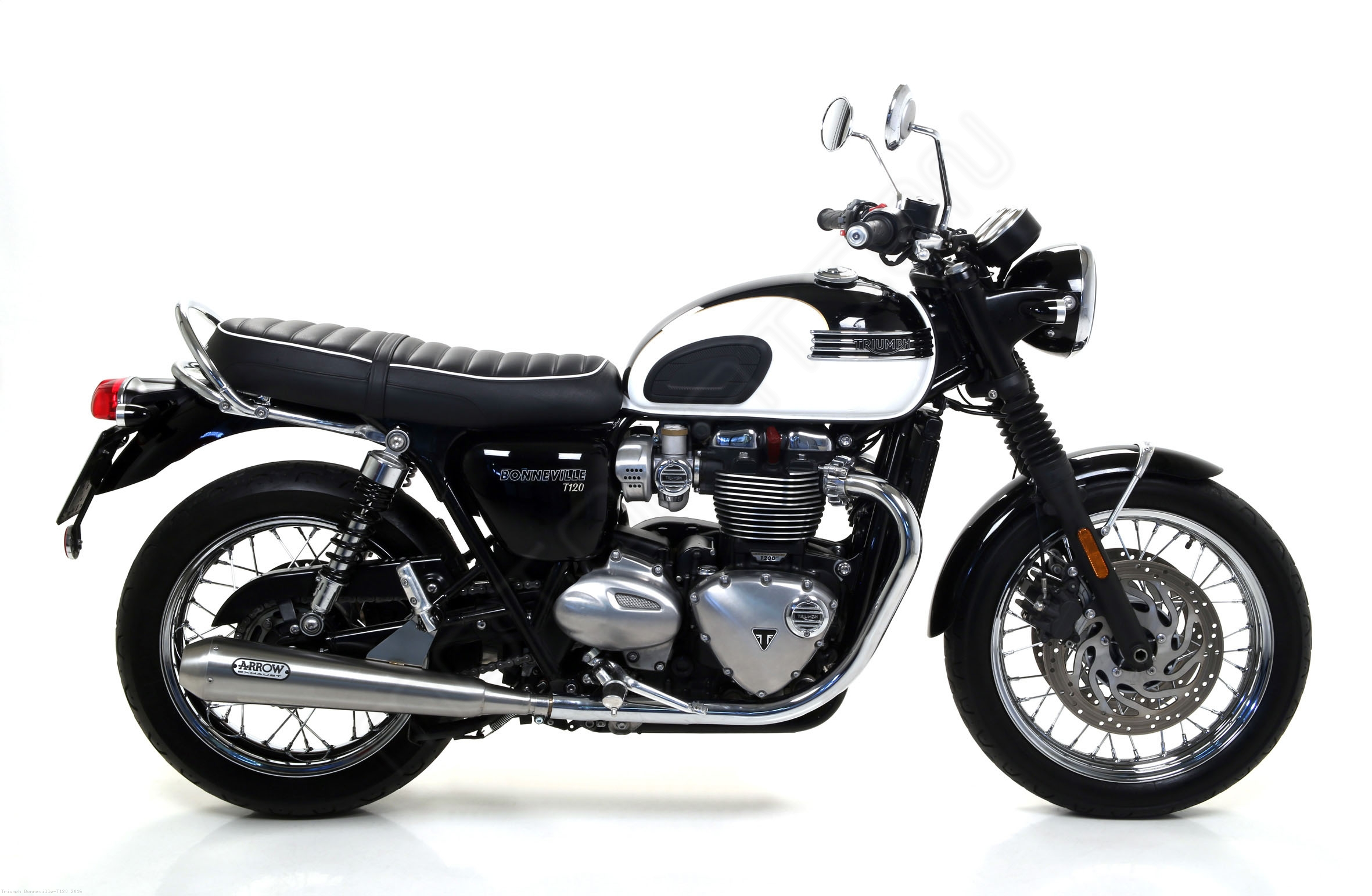 pro racing exhaust system by arrow triumph bonneville t120 2016 71853pri. Black Bedroom Furniture Sets. Home Design Ideas
