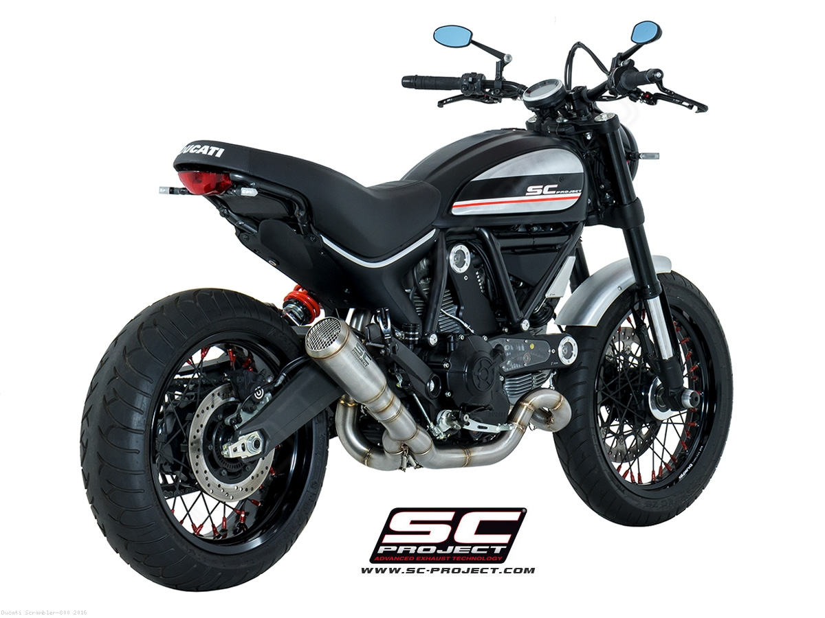 conic low mount full system exhaust by sc project ducati scrambler 800 2016 d16 cl42a. Black Bedroom Furniture Sets. Home Design Ideas