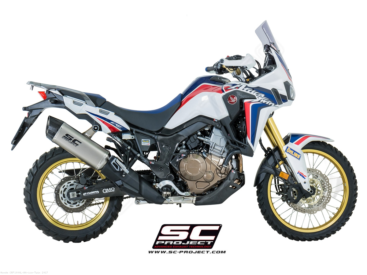 adventure exhaust by sc project honda crf1000l africa twin 2017 h16 85t. Black Bedroom Furniture Sets. Home Design Ideas