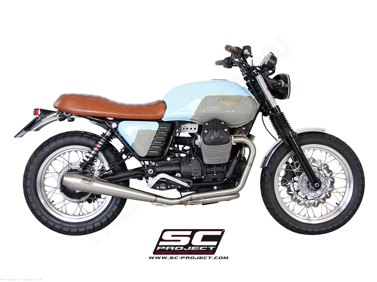 conic 2 1 full system exhaust by sc project moto guzzi v7 classic 2014 mg01 c37a. Black Bedroom Furniture Sets. Home Design Ideas