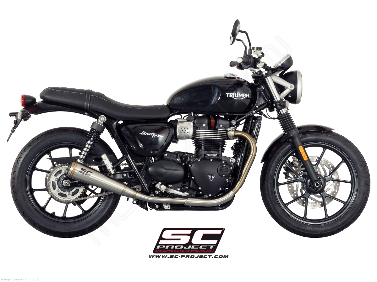 conic 70s style exhaust by sc project triumph street twin 2016 t14 d37a70s. Black Bedroom Furniture Sets. Home Design Ideas