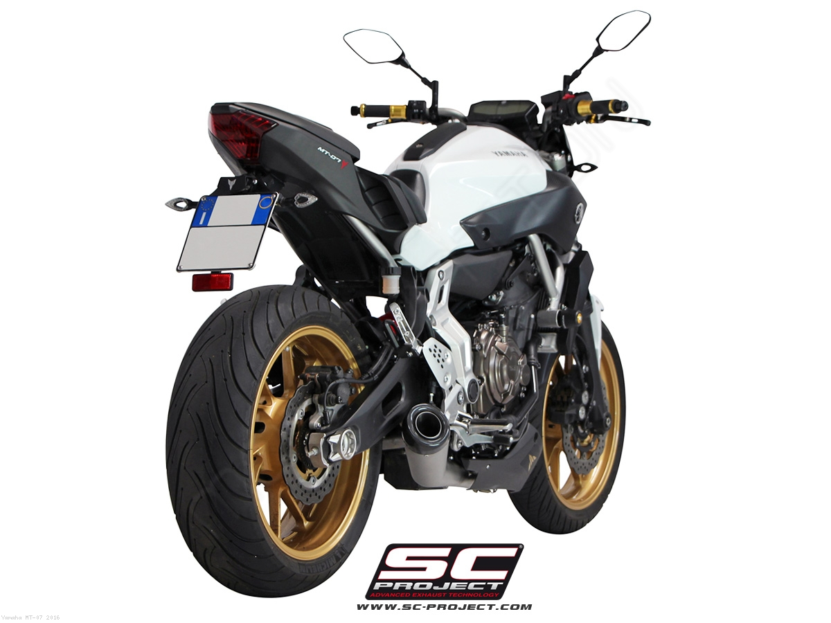 matte grey conic full system exhaust by sc project yamaha mt 07 2016 y14 c21mg. Black Bedroom Furniture Sets. Home Design Ideas
