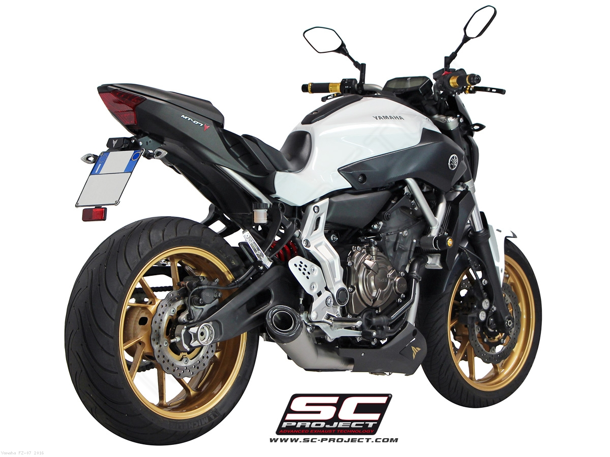 Matte grey conic full system exhaust by sc project yamaha for Yamaha fz 07 horsepower