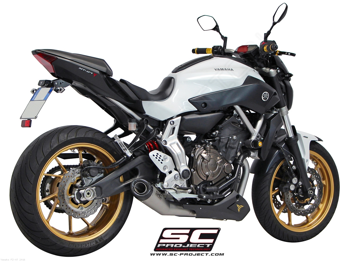 matte grey conic full system exhaust by sc project yamaha fz 07 2016 y14 c21mg. Black Bedroom Furniture Sets. Home Design Ideas