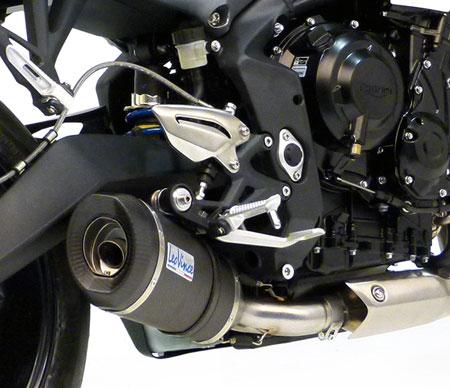 leo vince evo street 8771 8772 675 triumph speed triple f exhaust slipon titanium silencer can carbon end cap race street motovation accessories
