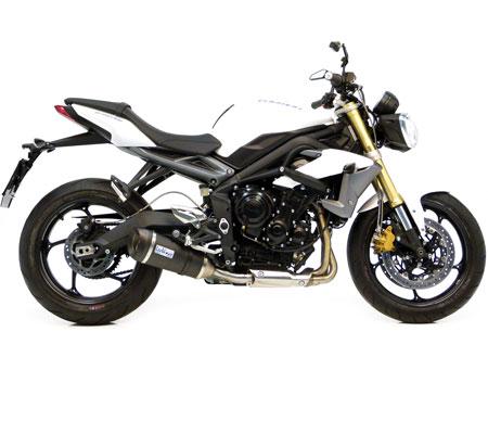 leo vince evo street 675 8771 8772 triumph speed triple super motard exhaust slipon titanium silencer can carbon end cap race street motovation accessories
