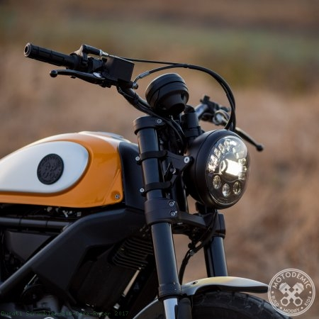 Single 7 Inch LED Headlight Conversion Kit by Motodemic Ducati / Scrambler 800 Cafe Racer / 2017