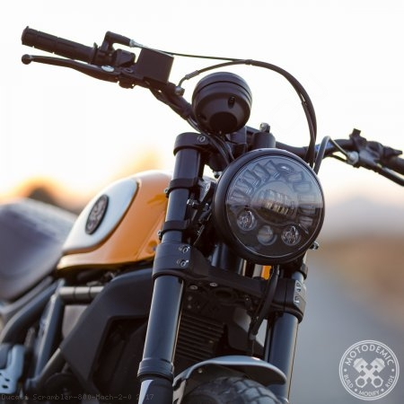 Single 7 Inch LED Headlight Conversion Kit by Motodemic Ducati / Scrambler 800 Mach 2.0 / 2017