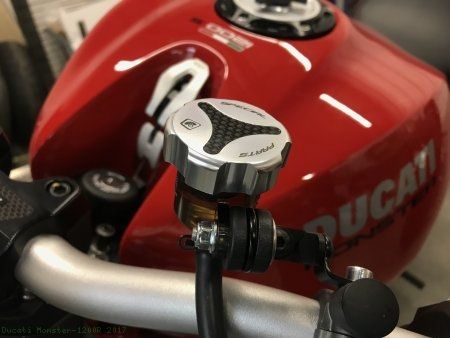 Carbon Inlay Front Brake and Clutch Fluid Tank Cap Set by Ducabike Ducati / Monster 1200R / 2017