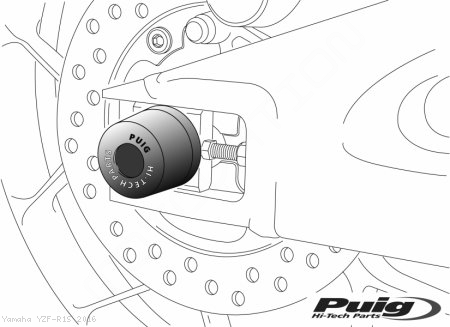Rear Axle Sliders by PUIG Yamaha / YZF-R1S / 2016
