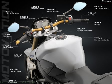 Rizoma Limit Naked Universal Mirror Ducati / Monster 1100 EVO / 2012