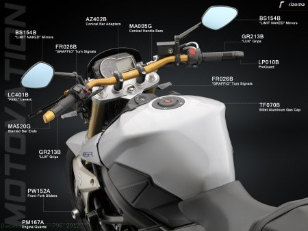 Rizoma Limit Naked Universal Mirror Ducati / Monster 796 / 2012