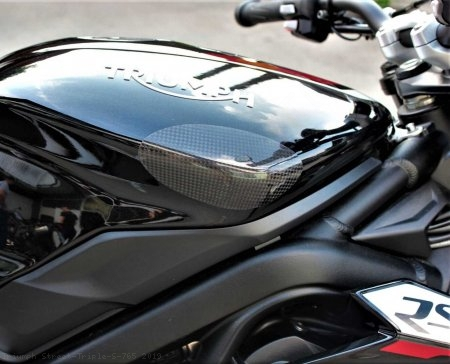 Carbon Fiber Street Version Tank Slider Kit by Strauss Carbon Triumph / Street Triple S 765 / 2019