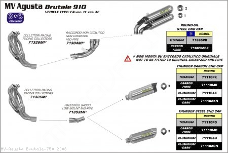 Arrow Thunder Low Mount Exhaust System MV Agusta / Brutale 750 / 2003