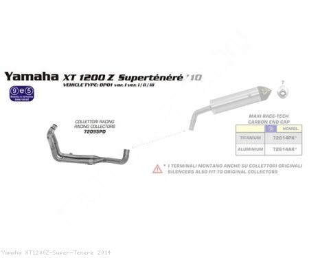 Racing Headers by Arrow Yamaha / XT1200Z Super Tenere / 2014