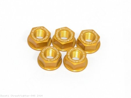 5 Piece Rear Sprocket Carrier Flange Nut Set by Ducabike Ducati / Streetfighter 848 / 2014