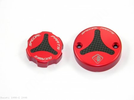 Carbon Inlay Front Brake and Clutch Fluid Tank Cap Set by Ducabike Ducati / 1098 S / 2008