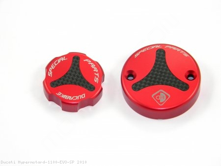 Carbon Inlay Front Brake and Clutch Fluid Tank Cap Set by Ducabike Ducati / Hypermotard 1100 EVO SP / 2010
