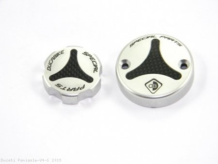 Carbon Inlay Front Brake and Clutch Fluid Tank Cap Set by Ducabike Ducati / Panigale V4 S / 2019