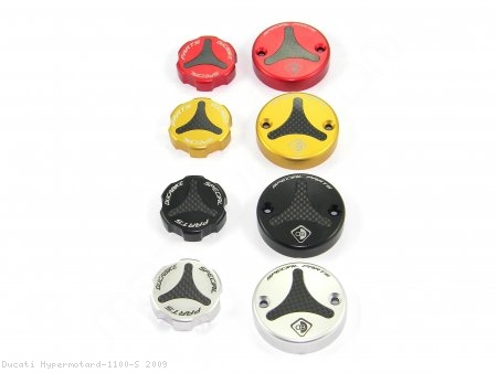 Carbon Inlay Front Brake and Clutch Fluid Tank Cap Set by Ducabike Ducati / Hypermotard 1100 S / 2009