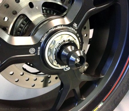 Spool Style Rear Axle Sliders by Motovation Accessories Ducati / Monster 1200R / 2016