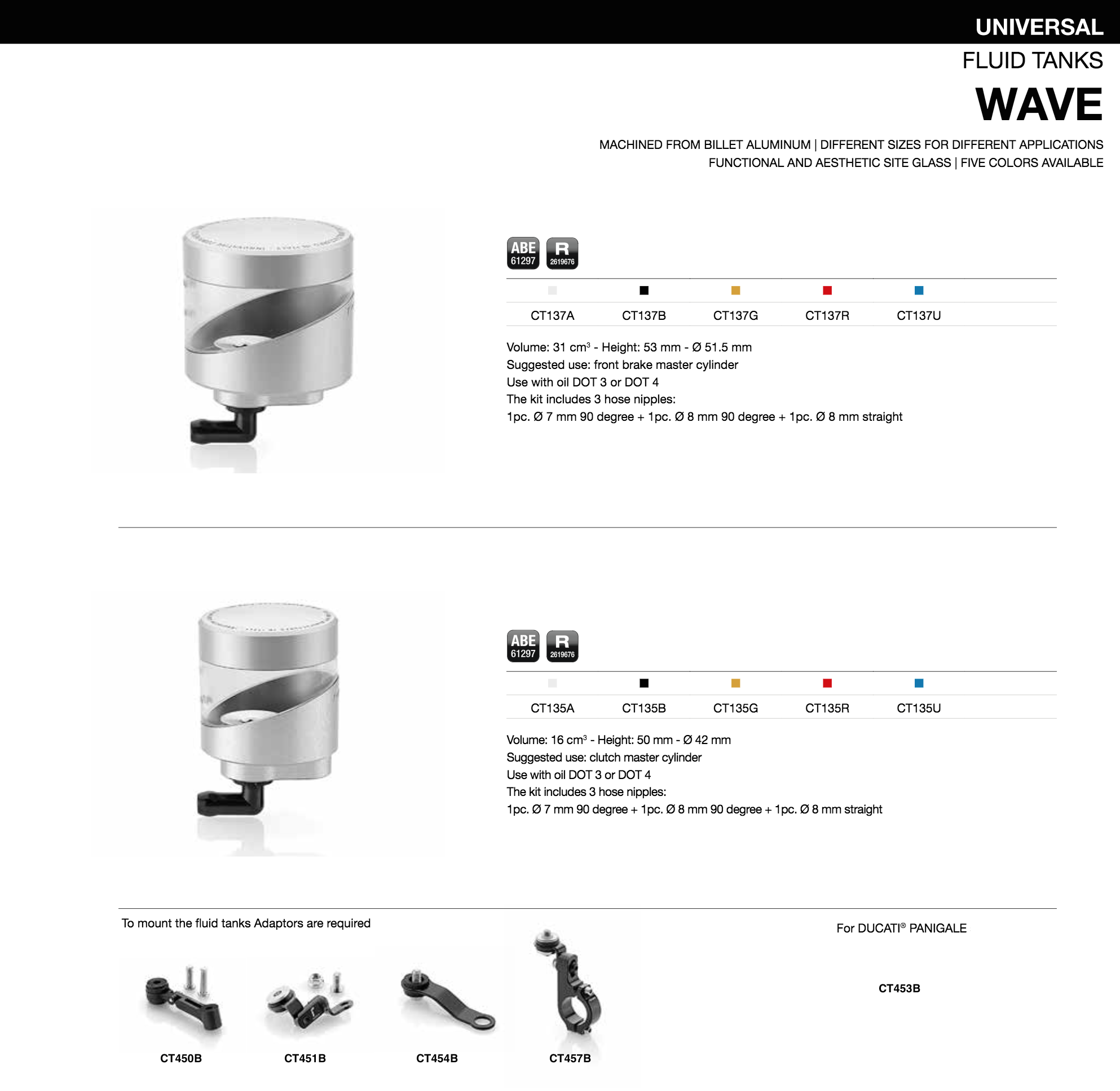 rizoma wave fluid tank adapters